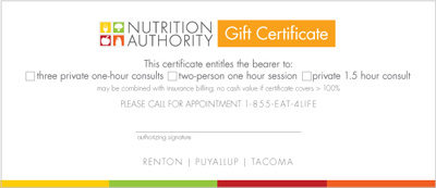 image of gift certificate from Nutrition Authority